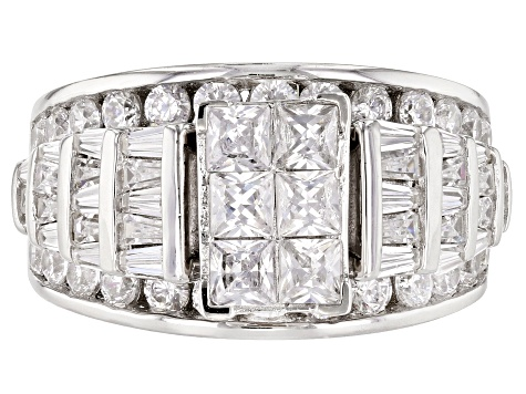 Bella Luce 5ctw Princess Cut Cubic Zirconia .925 Sterling Silver Bridge Ring