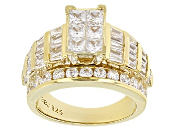 Picture of White Cubic Zirconia 18k Yellow Gold Over Sterling Silver Ring 5.62ctw