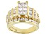 White Cubic Zirconia 18k Yellow Gold Over Sterling Silver Ring 5.62ctw