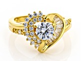 White Cubic Zirconia 18K Yellow Gold Over Sterling Silver Modern Heart Ring