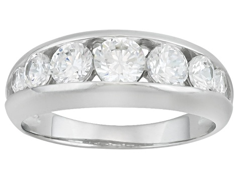 White Cubic Zirconia Rhodium Over Sterling Silver Ring With Band 8.70ctw