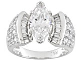 White Cubic Zirconia Rhodium Over Silver Bridal Ring 5.70ctw