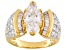 White Cubic Zirconia 18K Yellow Gold Over Sterling Silver Bridal Ring 5.70