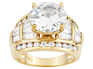 Picture of Cubic Zirconia 18k Yellow Gold Over Silver Ring 10.67ctw
