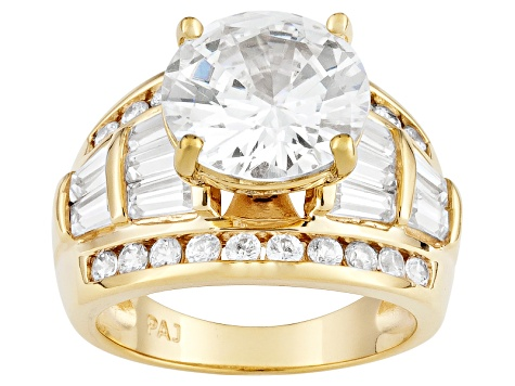 Cubic Zirconia 18k Yellow Gold Over Silver Ring 10.67ctw