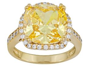 Yellow And White Cubic Zirconia 18k Yellow Gold Over Silver Ring 9.41ctw