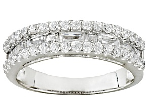 WHITE CUBIC ZIRCONIA ROUND AND BAGUETTE PLATINEVE ™ BAND 1.46CTW