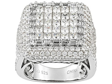 Cubic Zirconia Rhodium Plated Sterling Silver Ring 9.86ctw