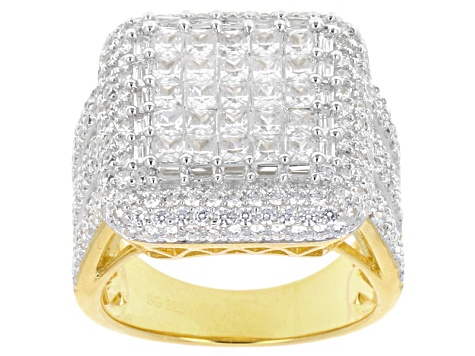 9.86ctw Cubic Zirconia 18k Yellow Gold Over Sterling Silver Ring