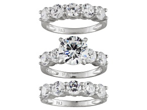 Cubic Zirconia Rhodium Over Sterling Silver Womens Wedding Set Ring 8.57ctw