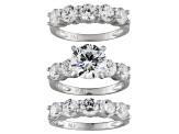 Womens Wedding Set Ring Cubic Zirconia 8.57ctw Sterling Silver