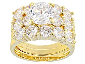 Womens Wedding Set Ring Cubic Zirconia 8.57ctw 18k Yellow Gold Over Sterling Silver