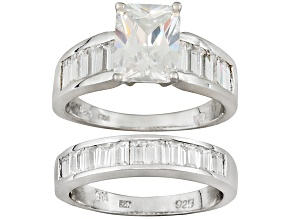 Cubic Zirconia Silver Ring With Band 9.41ctw