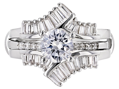 Bella Luce ® 2.45ctw Rhodium Over Sterling Silver Ring With Guard