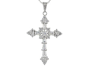 Bella Luce ® 2.95ctw Rhodium Over Sterling Silver Cross Pendant With Chain (1.49ctw DEW)