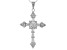 White Cubic Zirconia Rhodium Over Sterling Silver Cross Pendant With Chain 2.95ctw (1.49ctw DEW)