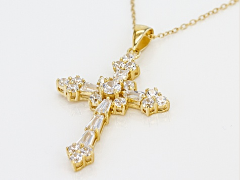 White Cubic Zirconia 18k Yellow Gold Over Silver Cross Pendant With Chain 2.95ctw (1.49ctw DEW)