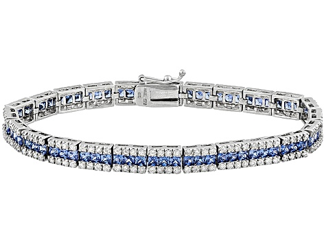 Blue And White Cubic Zirconia Sterling Silver Bracelet 16.20ctw