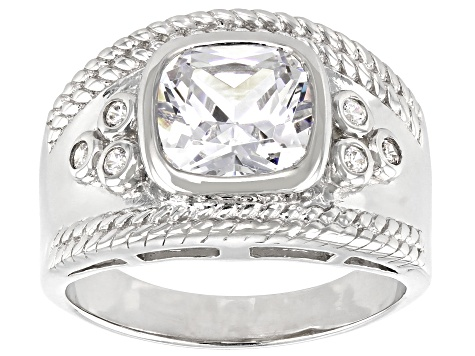 White Cubic Zirconia Rhodium Over Sterling Silver Ring 3.65ctw