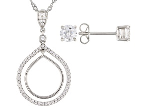 White Cubic Zirconia Rhodium Over Sterling Silver Pendant With Chain And Stud Earrings Set 2.10ctw