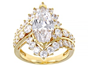 White Cubic Zirconia 18k Yellow Gold Over Sterling Silver Ring 7.18ctw (3.93ctw DEW)