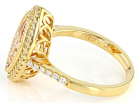 Champagne And White Cubic Zirconia 18K Yellow Gold Over Sterling Silver Ring 5.10ctw