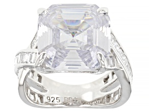 White Cubic Zirconia Rhodium Over Sterling Silver Asscher Cut Ring 15.74ctw