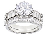 White Cubic Zirconia Rhodium Over Sterling Silver Ring With Band 7.60ctw