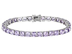 Lavender Cubic Zirconia Rhodium Over Sterling Silver Bracelet 31.80ctw (14.72ctw DEW)