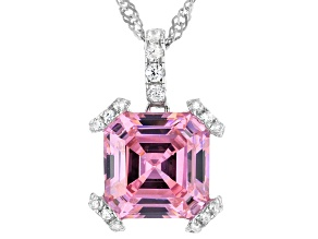 Asscher Cut Pink And White Cubic Zirconia Rhodium Over Sterling Silver Pendant With Chain 9.12ctw