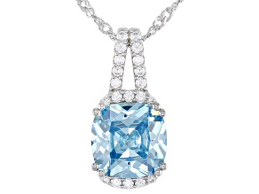 Light Blue And White Cubic Zirconia Rhodium Over Sterling Silver Pendant With Chain