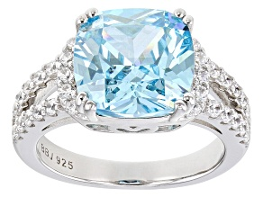 Light Blue And White Cubic Zirconia Rhodium Over Sterling Silver Ring 7.37ctw
