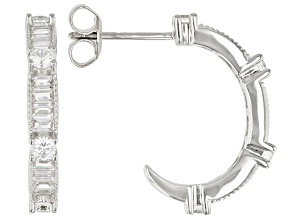 White Cubic Zirconia Rhodium Over Sterling Silver Hoop Earrings 1.92ctw (0.96ctw DEW)
