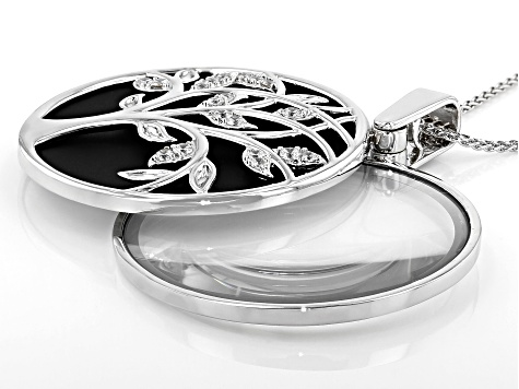 White Cubic Zirconia And Magnifying Glass Rhodium Over Brass Magnifying Lens Necklace 1.52ctw