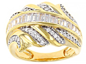 White Cubic Zirconia 18k Yellow Gold Over Sterling Silver Ring 1.55ctw