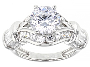 White Cubic Zirconia Platinum Over Sterling Silver Ring 5.62ctw