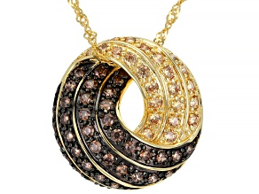Mocha And Champagne Cubic Zirconia 18k Yellow Gold Over Sterling Silver Pendant With Chain 2.06ctw