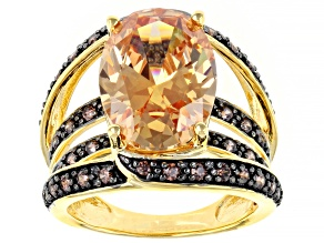 Champagne And Mocha Cubic Zirconia 18k Yellow Gold Over Sterling Silver Ring 10.83ctw