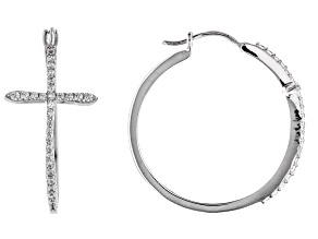 White Cubic Zirconia Rhodium Over Sterling Silver Cross Hoop Earrings 1.20ctw