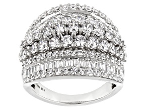 White Cubic Zirconia Rhodium Over Sterling Silver Ring 5.80ctw