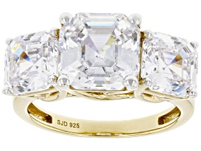 White Cubic Zirconia 18k Yellow Gold Over Sterling Silver Asscher Cut Ring 11.70ctw