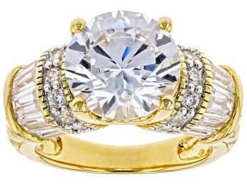 Picture of White Cubic Zirconia 18k Yellow Gold Over Sterling Silver Ring