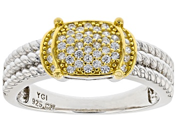 Picture of White Cubic Zirconia Rhodium And 14k Yellow Gold Over Sterling Silver Ring 0.40ctw