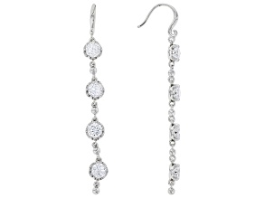 White Cubic Zirconia Rhodium Over Sterling Silver Earrings 6.32ctw
