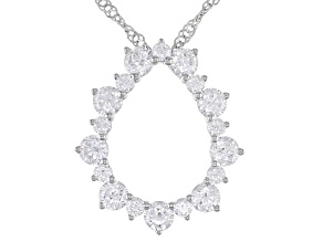 White Cubic Zirconia Rhodium Over Sterling Silver Pendant With Chain. DEW 1.8CTW