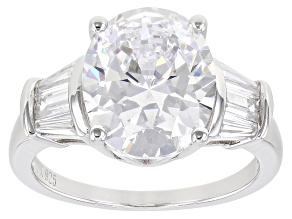 Cubic Zirconia Platinum Over Sterling Silver Ring 7.95ctw