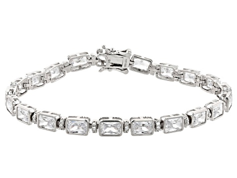 White Cubic Zirconia Rhodium Over Sterling Silver Tennis Bracelet 22.75ctw