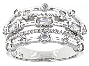 White Cubic Zirconia Rhodium Over Sterling Silver Ring 1.40ctw