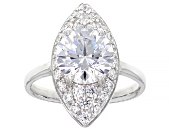 Picture of White Cubic Zirconia Rhodium Over Sterling Silver Ring 4.40ctw
