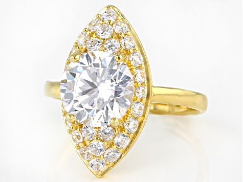 White Cubic Zirconia 18K Yellow Gold Over Sterling Silver Ring 4.40ctw